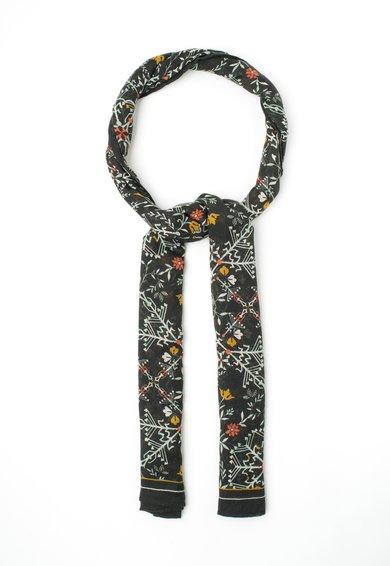 Pepe Jeans London Esarfa neagra cu imprimeu multicolor Feeze