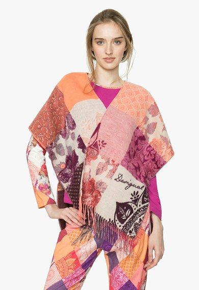 FashionDays.ro: Poncho multicolor cu model patchwork Romantic Desigual living