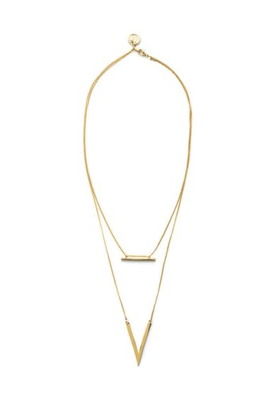 Colier auriu cu doua siraguri si pandantive M by Maiocci