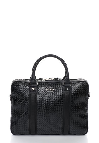 FashionDays.ro: Geanta neagra texturata pentru laptop GUESS