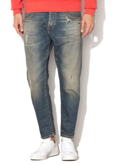 JackJones Jeansi crop albastru inchis cu aspect patat 690