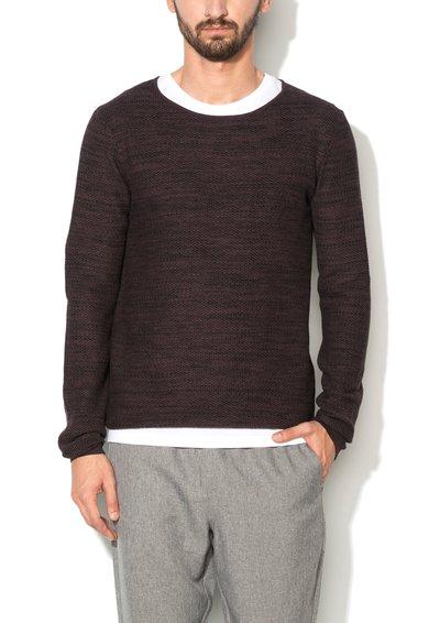 Selected Homme Pulover texturat violet prafuit cu negru Dane