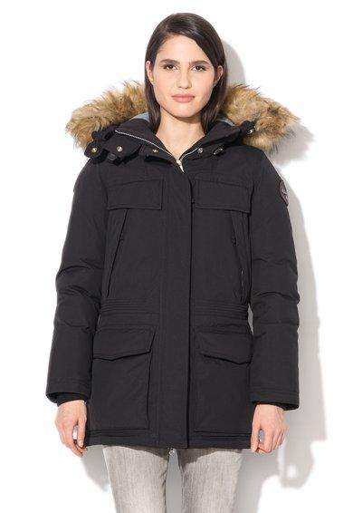 Jacheta neagra cu vatelina si garnitura Eco Fur de la Napapijri