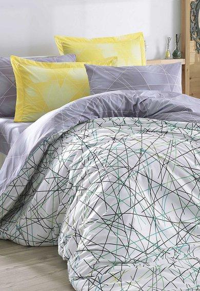 Set de pat cu imprimeu grafic multicolor Elisa de la Leunelle