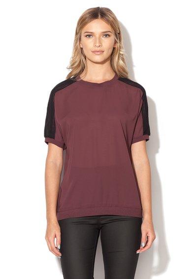 Bluza purpurie semitransparenta cu insertii negre de la Mexx