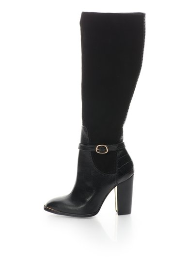 FashionDays.ro: Cizme negre din piele intoarsa si piele cu toc inalt Brin Rachel Zoe