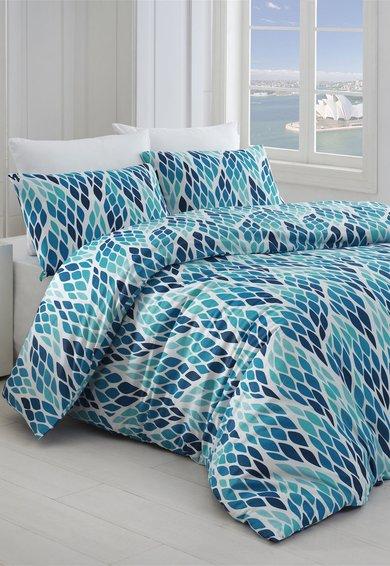 Leunelle Set de pat cu imprimeu cu frunze stilizate in nuante de albastru