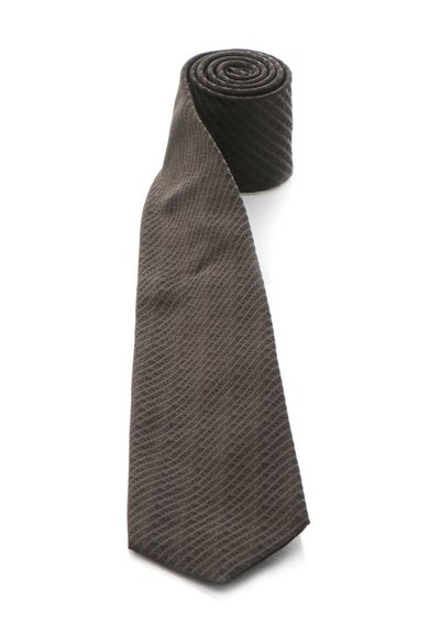 Cravata maro cafea de matase cu model logo de la Roberto Cavalli