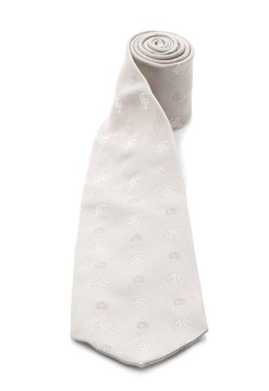 Cravata gri de matase cu model logo de la Roberto Cavalli