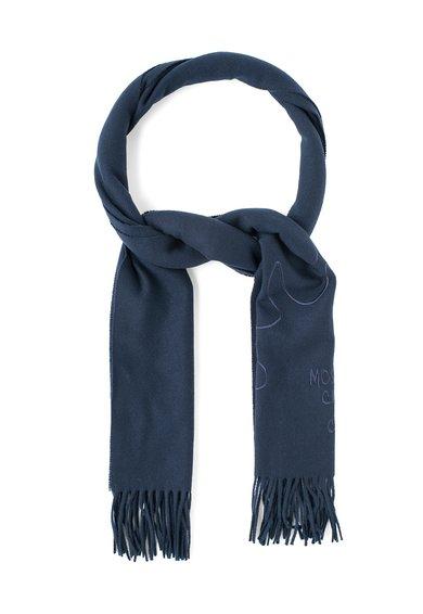 Fular bleumarin inchis de lana cu franjuri de la Moschino Cheap and Chic