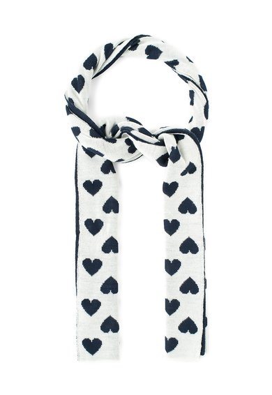 Fular grej cu bleumarin inchis din amestec de lana de la Moschino Cheap and Chic