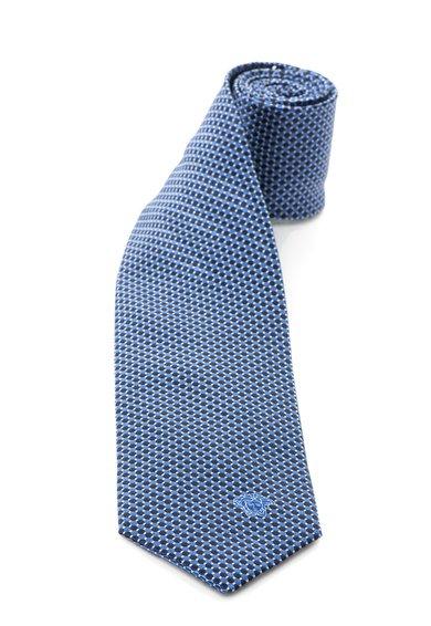 Cravata albastra cu bleumarin de matase cu model discret