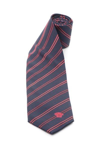 Versace Cravata bleumarin inchis de matase cu dungi rosii
