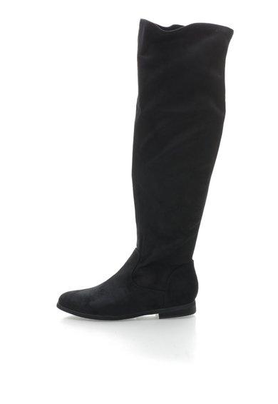 Cizme negre catifelate pana la genunchi de la Francesco Milano