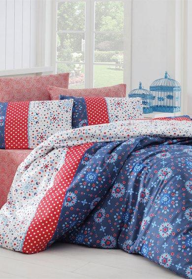 Set de pat multicolor cu imprimeu cu flori si buline de la Leunelle