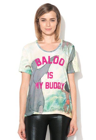 Tricou multicolor cu aplicatie fucsia Faloo de la Eleven Paris