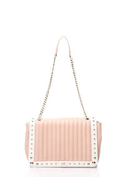 CAVALLI CLASS Geanta crossbody roz cu alb matlasata Glam Diva