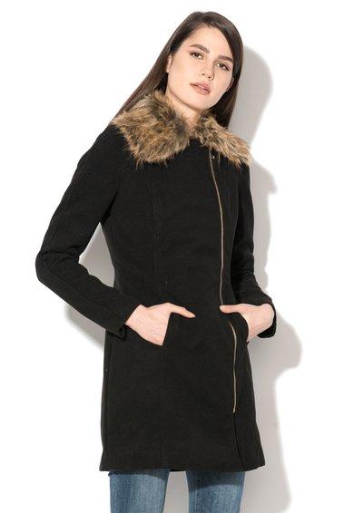 Palton negru cu garnitura de blana sintetica Zeya de la Hailys