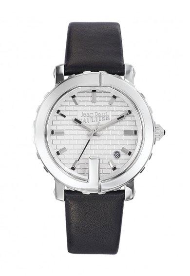 Ceas negru cu argintiu cu o curea de piele Point G
