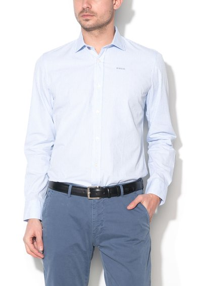 New Zealand Auckland Camasa alb cu bleu si model gingham Cosseys