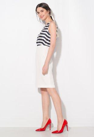 Rochie bleumarin cu alb fara maneci