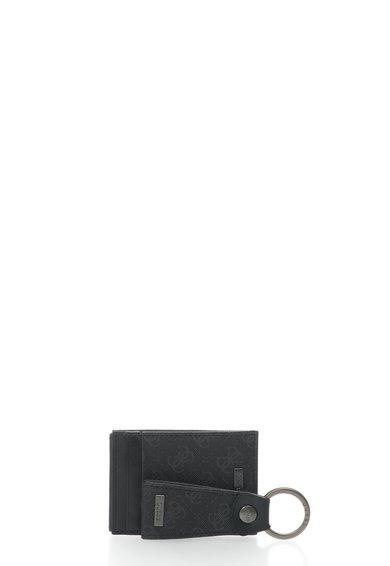 GUESS Set negru cu suport pentru carti de vizita si breloc