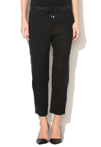 GUESS JEANS Pantaloni negri cu detalii din piele sintetica Stacy