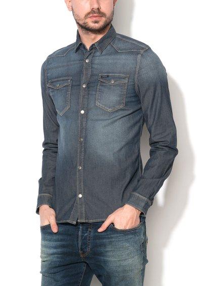 FashionDays.ro: Camasa albastru cenusiu din denim Truckee GUESS JEANS