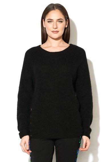 FashionDays.ro: Pulover negru cu partea din spate din sifon GUESS
