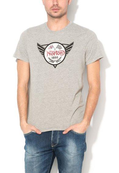 FashionDays.ro: Tricou gri melange cu imprimeu logo Cameron Norton