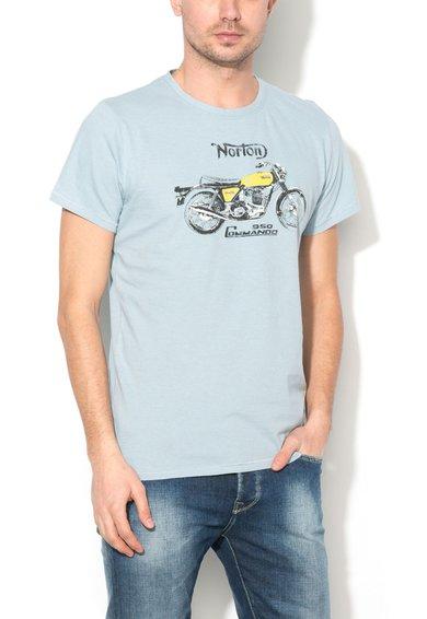 Norton Tricou albastru azur cu imprimeu frontal Leon