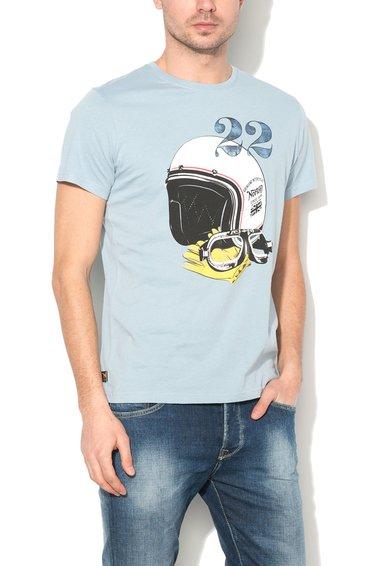 FashionDays.ro: Tricou albastru azur cu imprimeu cu casca Miles Norton