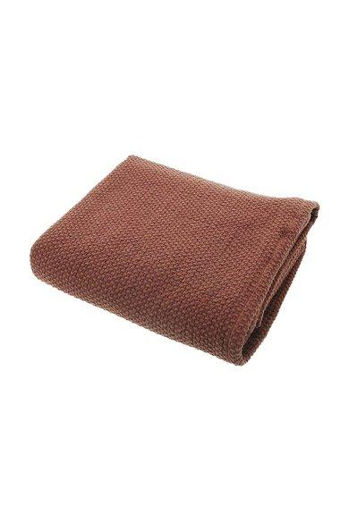 Cuvertura de pat rosu terracota cu textura tesuta de la Sensei