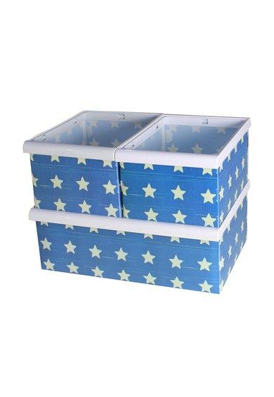 Set albastru cu alb fildes de cutii de depozitare - 3 piese