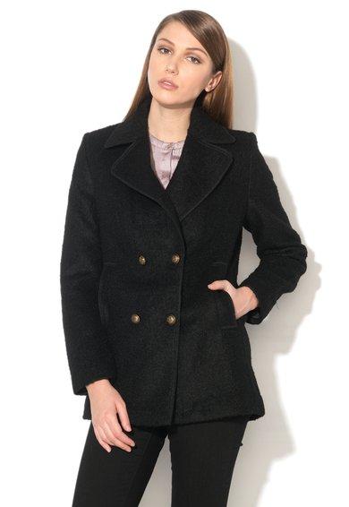 ESPRIT Haina scurta neagra boucle din amestec de lana