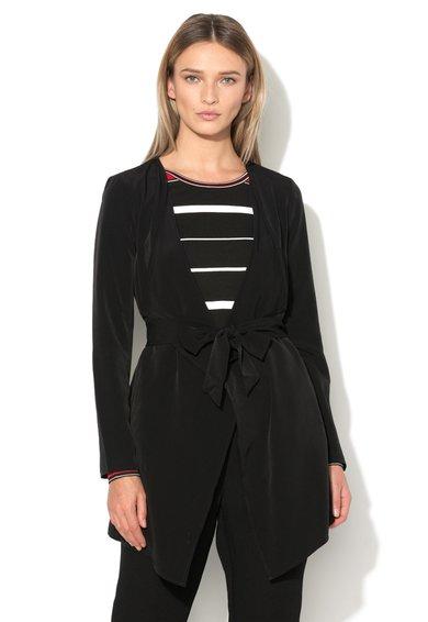 Vero Moda Sacou asimetric negru cu cordon in talie Maggie