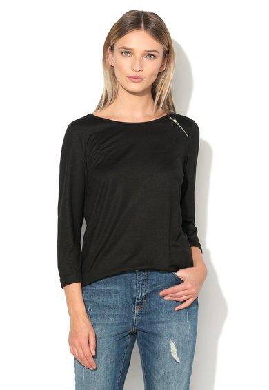 Vero Moda Bluza neagra cu fermoar decorativ Agir Shila