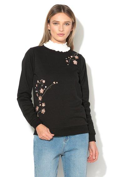 Vero Moda Bluza sport neagra cu broderie florala