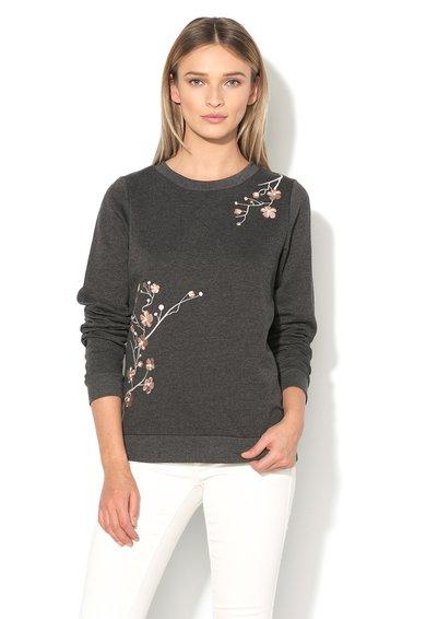 Vero Moda Bluza sport gri inchis melange cu broderie florala