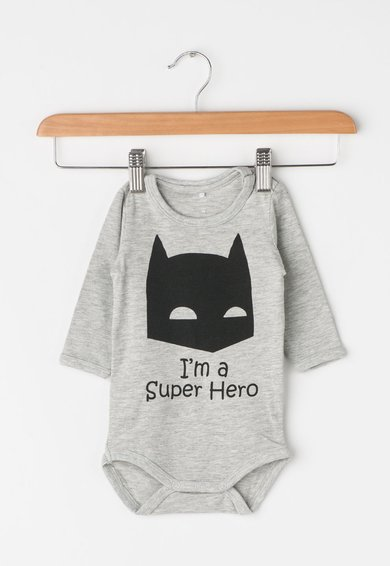 FashionDays.ro: Body gri melange cu imprimeu Batman Luca Name it