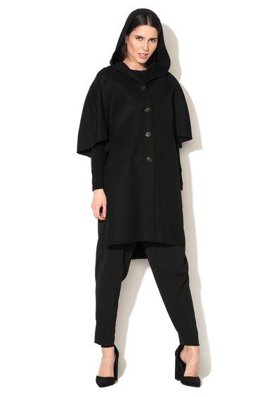 Sportmax Code Palton subtire negru din amestec de lana virgina Curzio