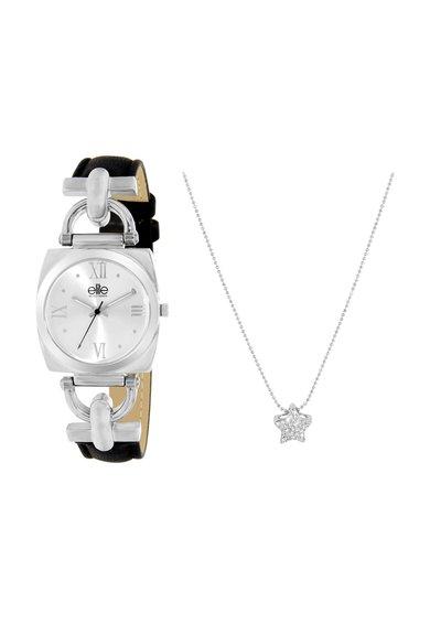 Set argintiu cu cristale de ceas si colier de la Elite