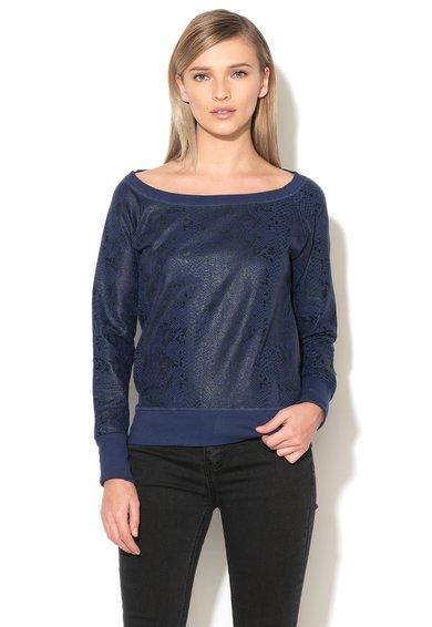 Met Jeans Bluza sport albastru inchis cu negru si model sarpe Femke