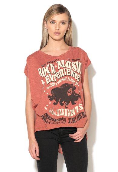 Met Jeans Tricou rosu caramiziu cu spate din crep sifon Shannon
