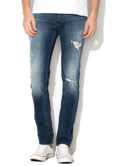 Diesel Jeansi skinny albastru inchis cu aspect decolorat Sleenker