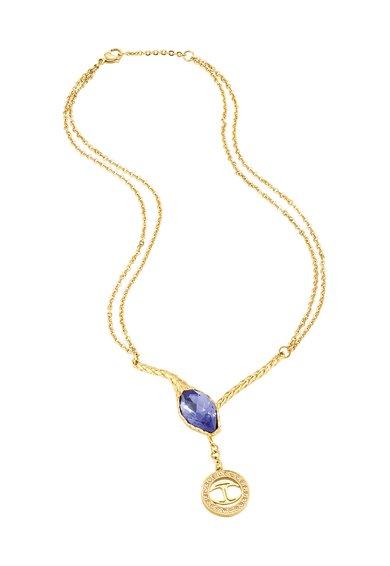 Just Cavalli Colier auriu in forma de Y cu cristale Just Hipnose