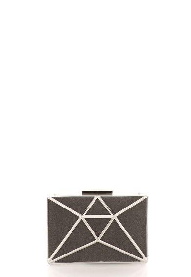 Geanta plic minaudière stralucitoare negru cu argintiu de la Liu Jo
