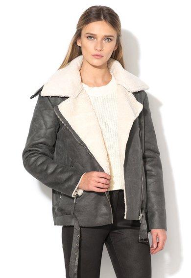 FashionDays.ro: Jacheta gri din piele shearling sintetica Glamorous