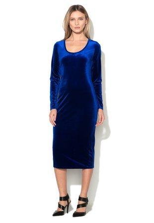 Rochie midi albastru cobalt catifelata