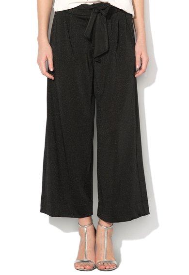 FashionDays.ro: Pantaloni crop negri cu croiala ampla si aspect stralucitor Just Cavalli